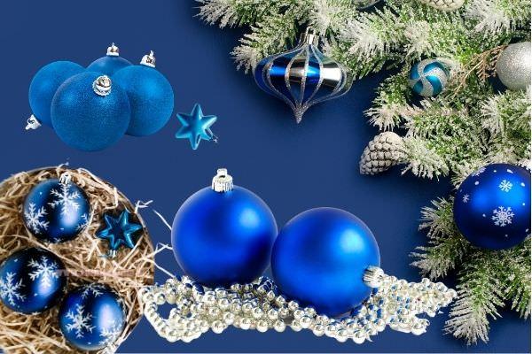 decorazioni natalizie palline albero di natale blu navy stelle argento