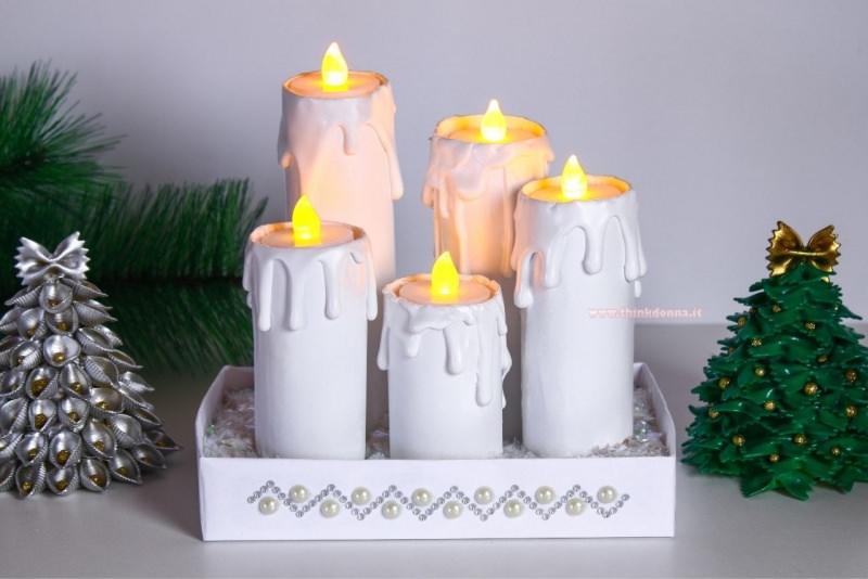 candele finte fai da te con tea light led luce gialla ramo abete decorazione natalizia