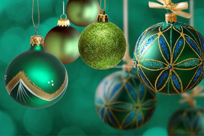 palline di natale decorazioni natalizie verde oro