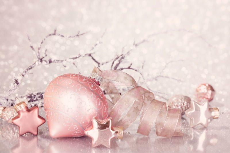 decorazioni natalizie rosa palline nastro stelle