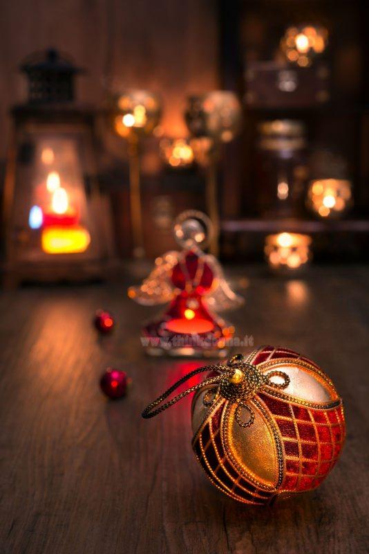 decorazione natale pallina oro velluto rosso angelo