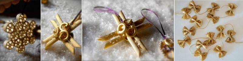 decorazioni natalizie oro fatti con la pasta rigatoni penne farfalle chifferi addobbi albero natale