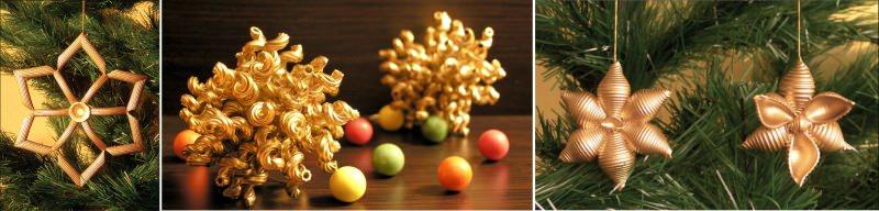 decorazioni natalizie fatte pasta penne color oro albero di natale palline colorate giallo arancio rosa verde rosso