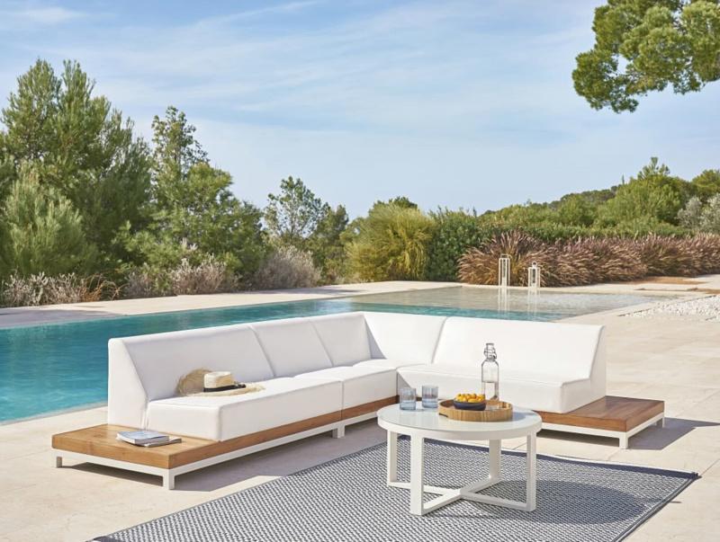 salotto da giardino alluminio teak piscina tavolino vassoio