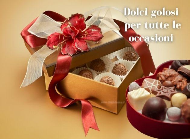 cioccolatini praline confezione regalo dolci golosi fiocco fiore rosso oro