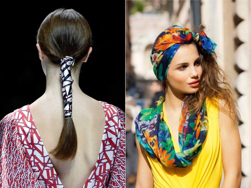 Gli accessori moda, le tendenze principali della prossima stagione primavera estate 2018 acconciatura coda di cavallo fascia foulard colorato viso donna capelli lunghi abito giallo