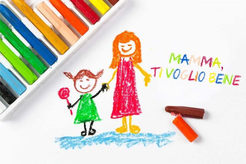felice festa della mamma biglietto auguri gessetti colorati colori a cera mamma ti voglio bene scritta