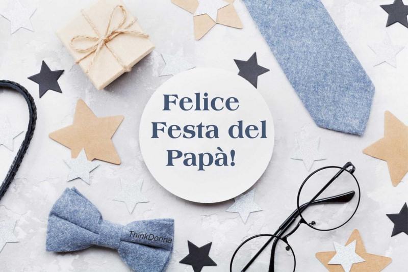 felice festa del papà pacco regalo occhiali stelle papillon cravattino