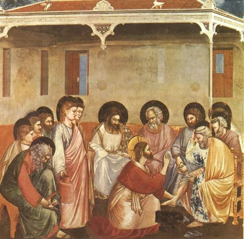 Giovedì Santo e la Lavanda dei piedi anche per le donne Gesù lava i piedi a Pietro, Giotto, Cappella degli Scrovegni, Padova