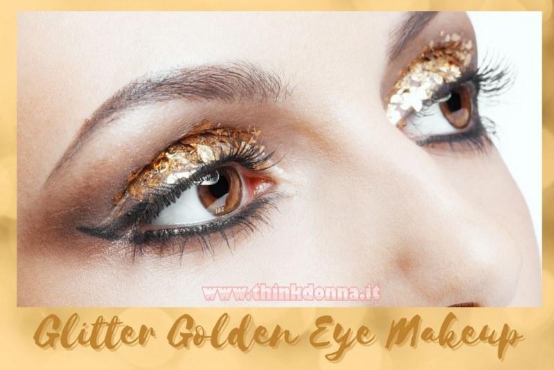 golden glitter makeup occhi trucco feste fine anno