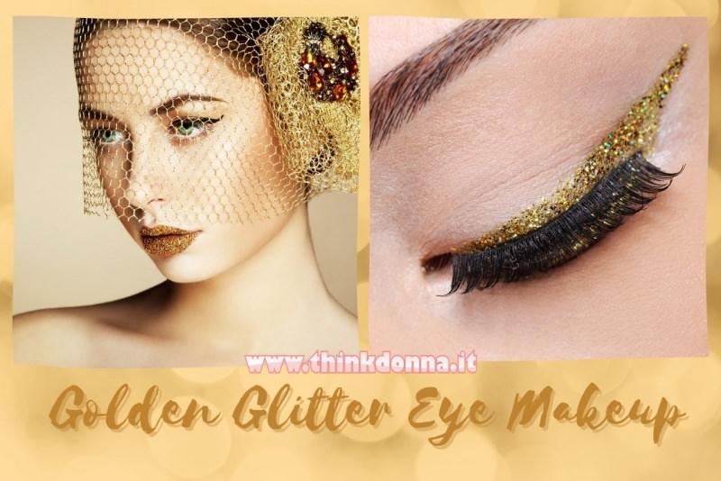 trucco occhi glitter oro eye make up with golden arrow cappellino con retina
