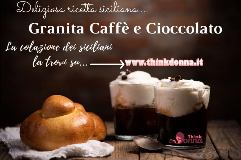 colazione siciliana bicchieri granita cioccolato caffè panna brioscia con tuppo