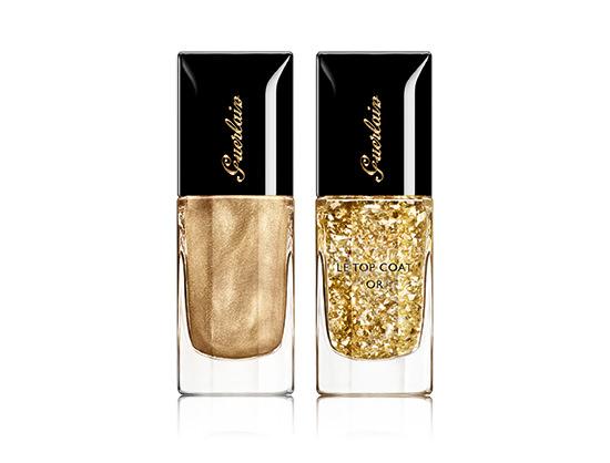 smalti unghie vernis nail lacquer guerlain coque d'or oro metallizzato shimmer l'oiseau de feu top coat gliette oro makeup trucco natale 2014
