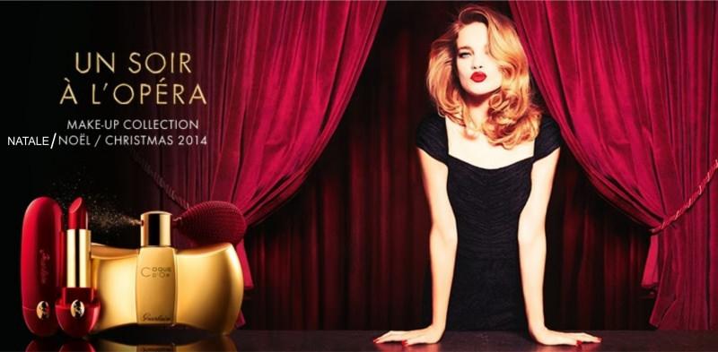 makeup trucco collezione guerlain un soir à l'opéra natale 2014 modella donna bellissima bionda labbra rosse abito nero