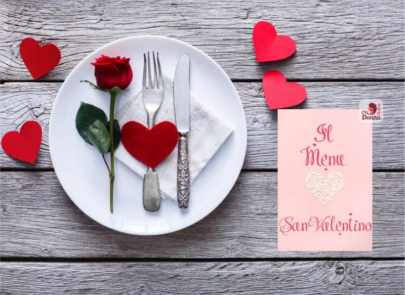 il menu di san valentino piatto posate argento decorazioni cuori rose rossa