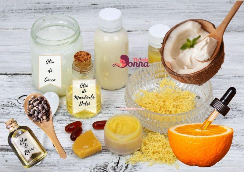 ingredienti burrocacao naturale cera d'api olio di cocco olio essenziale arancio olio di ricino olio di mandorle dolci