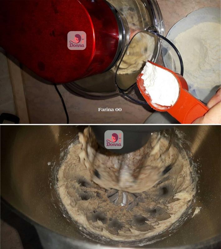 farina versata con misurino nella planetraia impasto crostata pâte sucrée