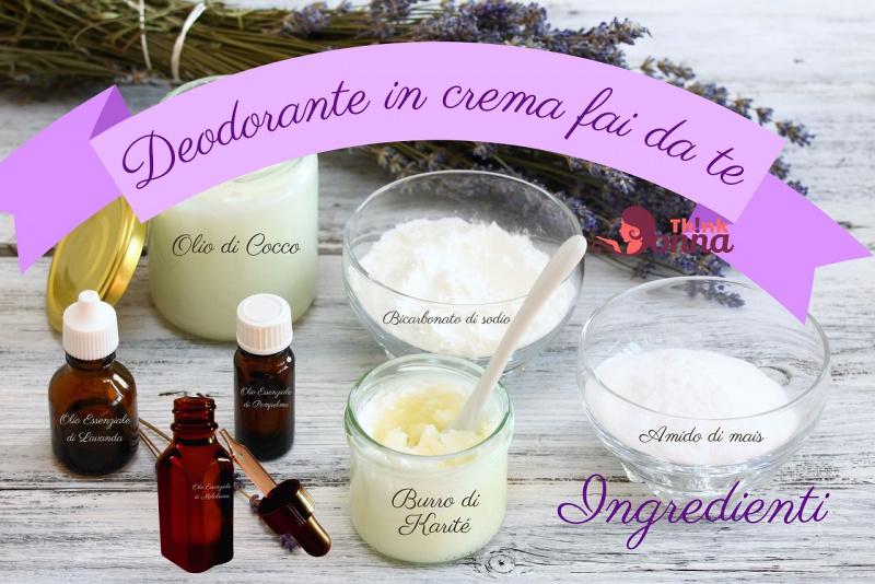 ingredienti deodorante ascelle fai da te fiori lavanda olio essenziale burro di karité olio di cocco amido di mais bicarbonato di sodio