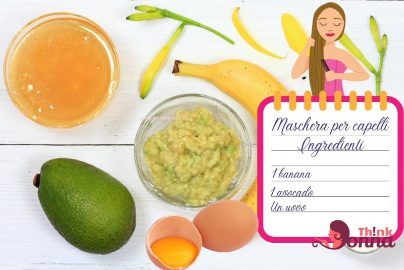 avocado banana ciotola miele uovo tuorlo fiori gialli illustrazione cura dei capelli