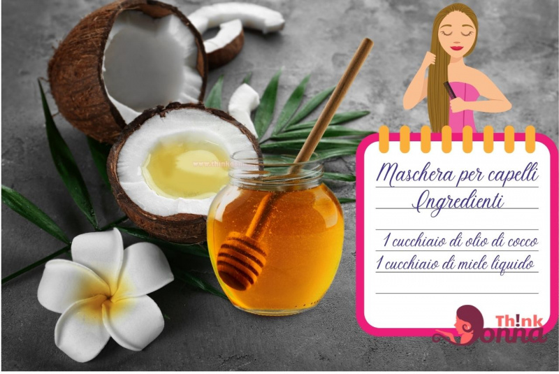 noce di cocco vasetto miele spargi miele legno illustrazione cura dei capelli