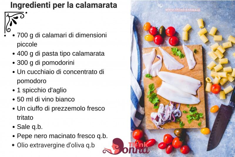 ingredienti calamarata pomodorini calamari tagliere coltello prezzemolo