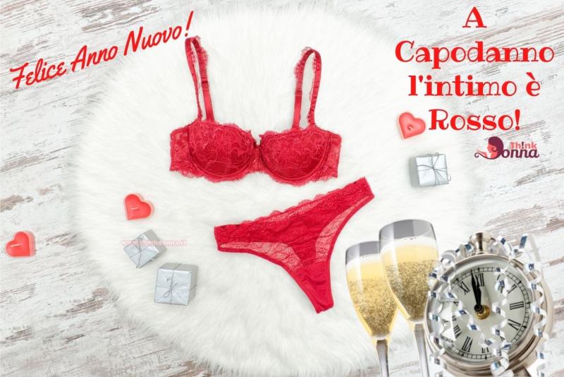 felice anno nuovo completo intimo lingerie biancheria intima rosso orologio flute spumante reggiseno