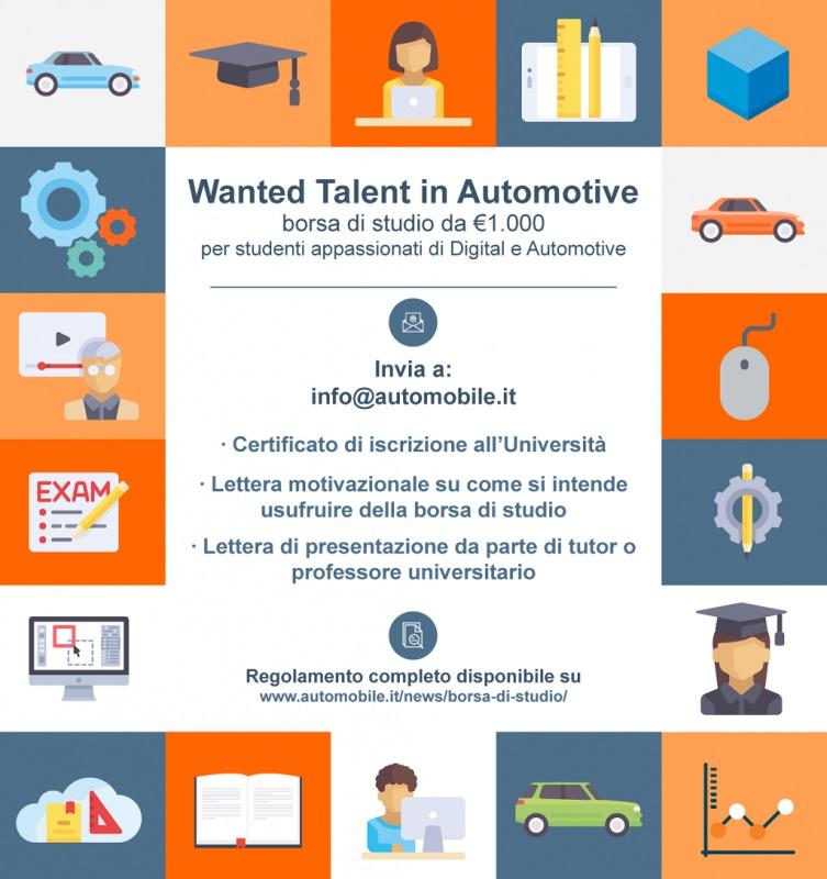 Wanted Talent in Automotive, la borsa di studio dedicata agli appassionati di automobili e innovazione locandina regolamento per studenti