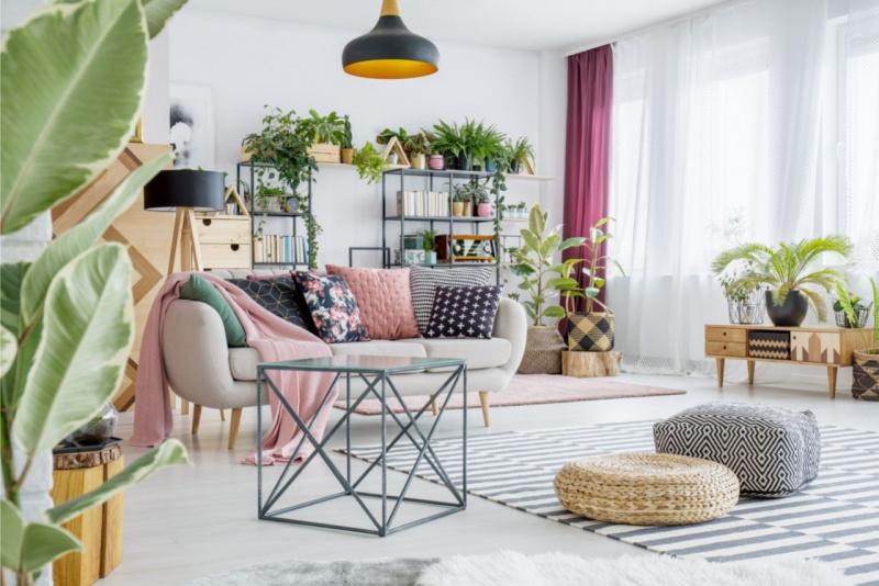 arredamento angolo verde piante divano poltrona cuscini