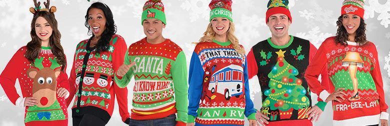 Natale 2017: i look per essere trendy ed eleganti maglioi natalizi donne uomini rosso berretti sorrisi