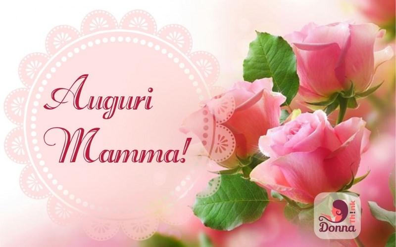 Festa della mamma auguri speciali con belle parole originali e poetiche scritta auguri mamma sfondo rosa fiori rose foglie verdi