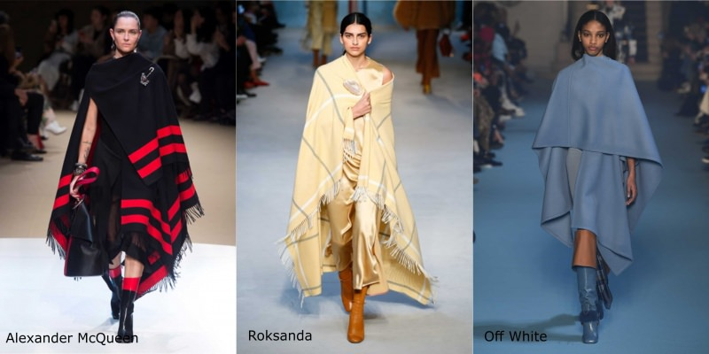 Moda donna cosa comprare per rinnovare il guardaroba autunno inverno mantella nero righe rosse Alexander McQueen plaid beige quadri Roksanda blu azzurro polvere Off White stivali