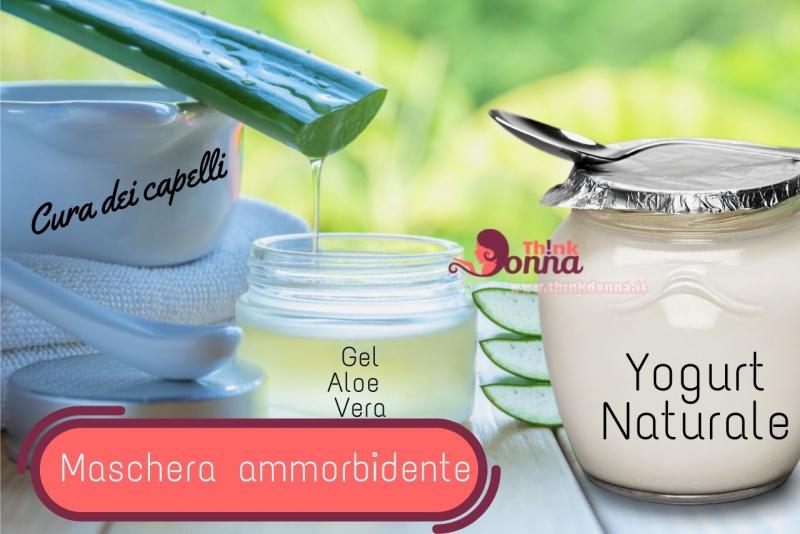 cura bellezza capelli maschera ammorbidente gel aloe vera yogurt bianco