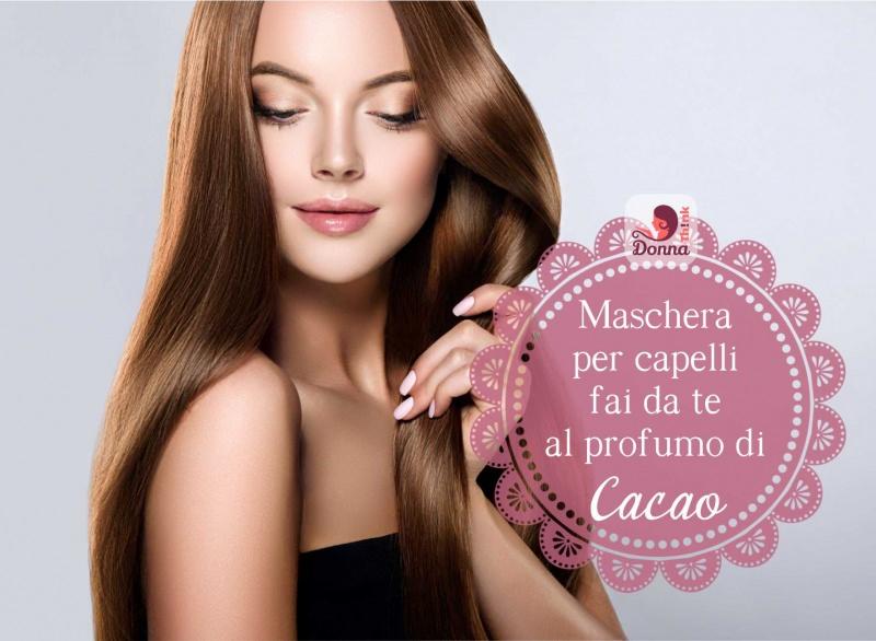 viso donna bellissima capelli castani lunghi lisci lucenti morbidi ricetta maschera cacao