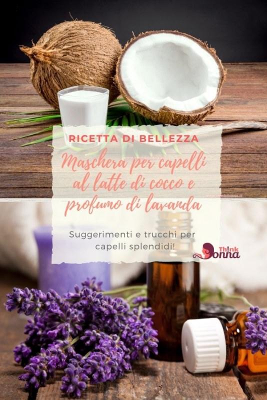 maschera bellezza capelli noci di coccolatte bicchiere fiori olio lavanda consigli ricetta