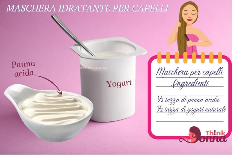 ingredienti maschera idratante illustrazione cura dei capelli vasetto yogurt bianco cucchiaino ciotola salsiera panna acida
