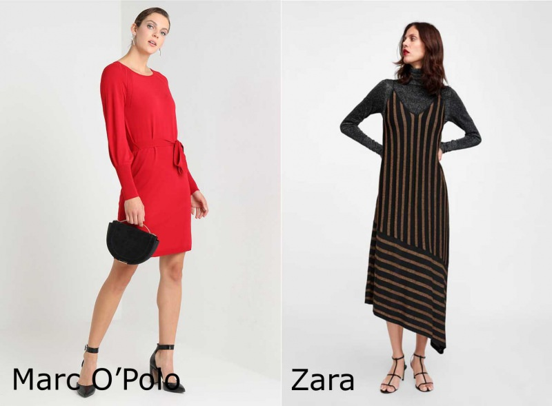 Moda donna cosa comprare per rinnovare il guardaroba autunno inverno abito rosso Marc O'Polo vestito asimmetrico a righe Zara