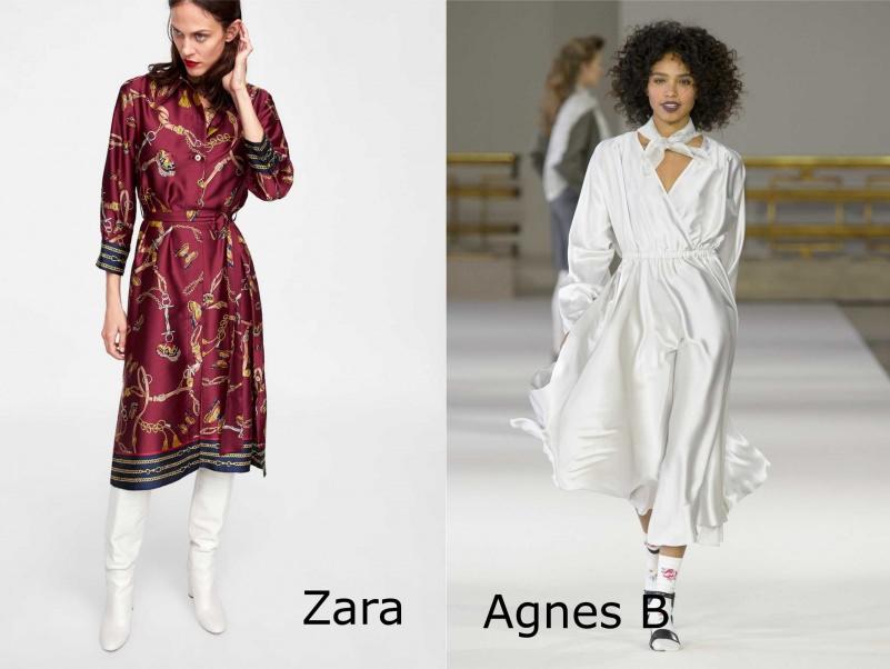 Moda donna cosa comprare per rinnovare il guardaroba autunno inverno abito stampa foulrd bordeaux Zara stivali bianchi abito fluido bianco Agnes B