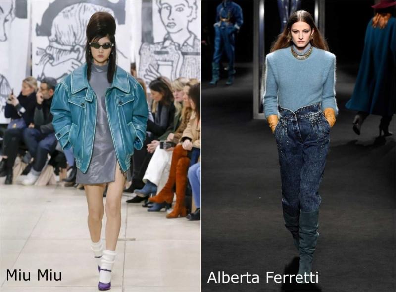 Moda donna cosa comprare per rinnovare il guardaroba autunno inverno giubbotto pelle azzurro abito grigio Miu Miu jeans denim maglione lana Alberta Ferretti