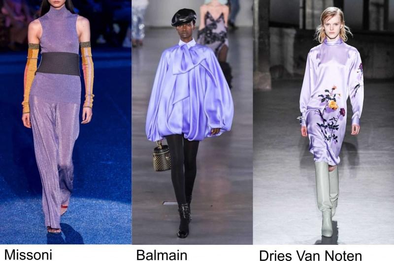 Missoni moda donna Balmain fashion colore viola Dries Van Noten autunno inverno