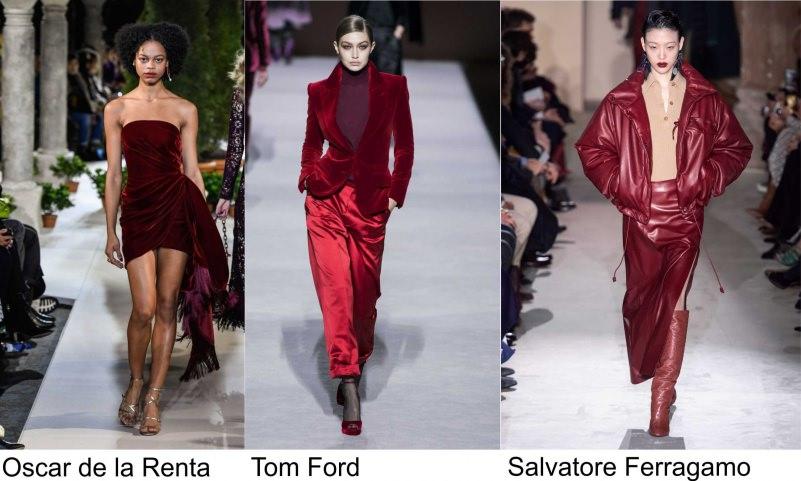 Oscar de la Renta moda donna colore rosso Tom Ford Fashion Salvatore Ferragamo