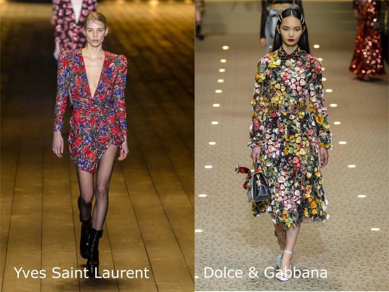 Moda, quali stili vedremo il prossimo autunno/inverno 2018 2019 Abiti fiori Yves Saint Laurent Dolce & Gabbana sfilate passerella