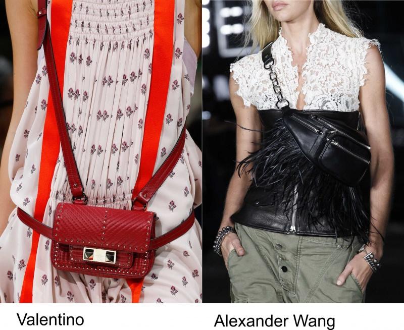 Gli accessori moda, le tendenze principali della prossima stagione Quale sarà la borsa più alla moda nella primavera-estate 2018? sfilata Valentino waist bag rossa marsupio nero pelle frange Alexander Wang