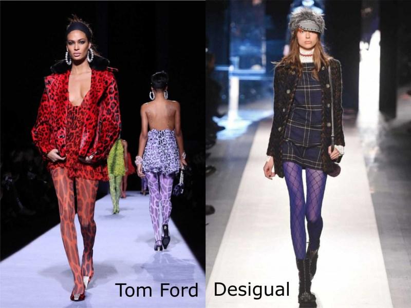 Moda donna cosa comprare per rinnovare il guardaroba autunno inverno calze collant leopardate animalier Tom Ford calze a rete blu Desigual