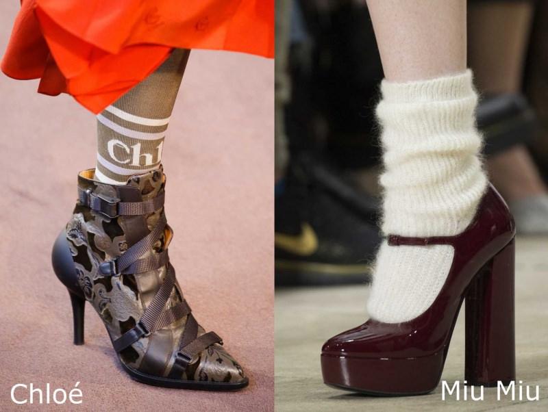 Moda donna cosa comprare per rinnovare il guardaroba autunno inverno scarpe tronchetto con calzini Chloé scarpa Mary Jane vernice rosso bordeaux Miu Miu