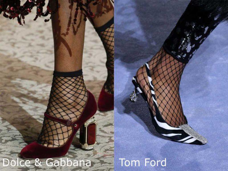 Moda donna cosa comprare per rinnovare il guardaroba autunno inverno calzini a rete nero Dolce & Gabbana scarpe collant a rete Tom Ford bianco nero