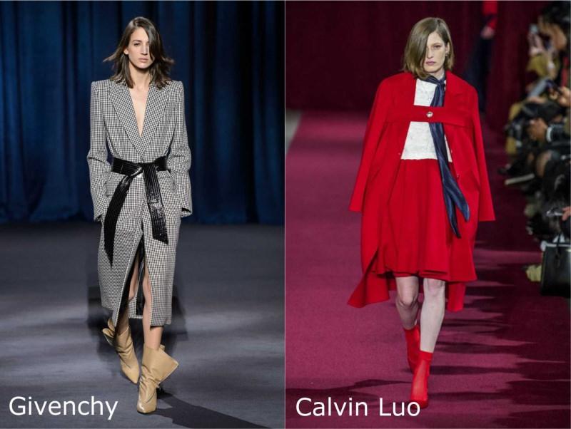 Moda donna cosa comprare per rinnovare il guardaroba autunno inverno 2018 2019 cappotto extra lungo pied de poule Givenchy stivali rosso gonna maglia bianca foulard blu Calvin Luo