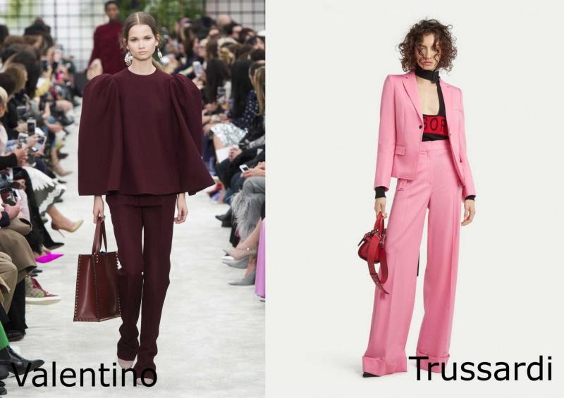 Moda donna cosa comprare per rinnovare il guardaroba autunno inverno completo bordeaux Valentino sfilata completo giacca pantalone rosa top rosso Trussardi borsa rossa