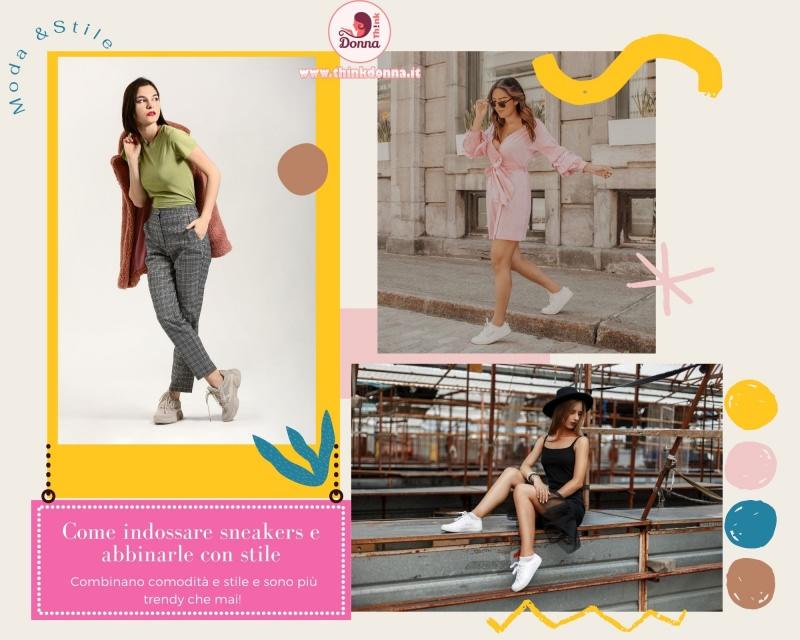 coem indossare sneakers con stile gonna abito donne casual style moda abiro rosa tubino nero pantalone quadri