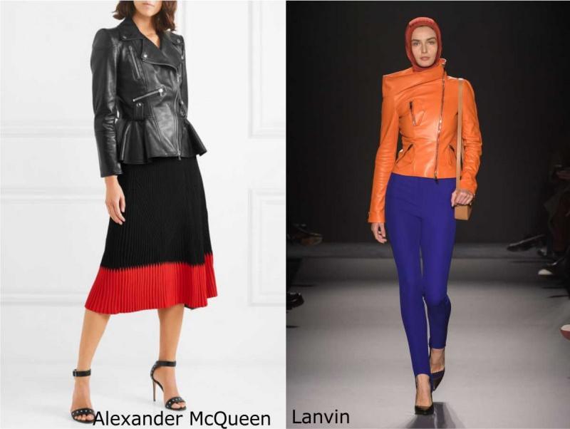 Moda donna cosa comprare per rinnovare il guardaroba autunno inverno 2018 2019 giubbotto pelle nero gonna plissé Alexander McQueen leggins blu biker arancione Lanvin borsa tracolla