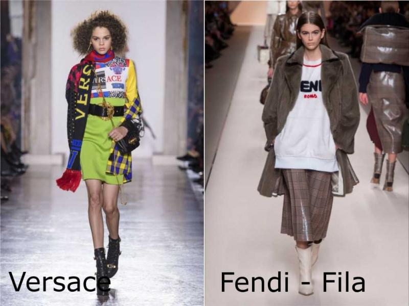 Moda donna cosa comprare per rinnovare il guardaroba autunno inverno logo mania Versace felpa Fila giaccone Fendi pelliccia